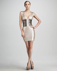 Herve Leger Metallic Colorblock Bandage Dress - Bergdorf Goodman