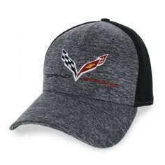 Grand Sport New Era Fitted Cap - Heather Gray/Black  Grand Sport and New Era styles come through on this structured heather gray crown with black mesh back and black under-bill. C7 crossed flags and Grand Sport logos embroidered on front. Fitted. Imported.  SKU: CM2-MC490