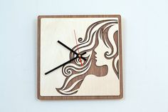 12 Wooden Wall Clock / Home Decor / Housewares / Clock    These wooden clocks will give you hours of creative pleasure and years of enjoyment as it graces your home, workplace or a shop.    REMEMBER - Customs designs are WELCOME!    Size: 12 inches (28cm)  Material: Teak veneer, Birch Plywood  Clock Mechanism: Battery operated, requires 1AA battery ------------------------------------------------------------------------------------------------------  Due to the nature of the wood grains…