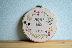 Mariage Embroidery Hoop Custom mariage par BreezebotPunch sur Etsy