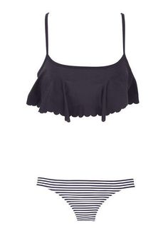 Scallop swim top and striped bottoms