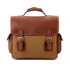 The England Briefcase in Brown Saddle Leather & Tweed