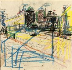 Frank Auerbach (b. , Drawing for Mornington Crescent painting Aberdeen Art Gallery, Frank Auerbach, Romantic Drawing, Collages, Artist Sketchbook, Urban Sketching, Composition, Gravure, Cool Drawings