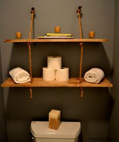 DIY Rustic rope shelves for the bathroom.