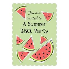 #stylish - #Watermelon Pieces Green Summer BBQ vertical Card