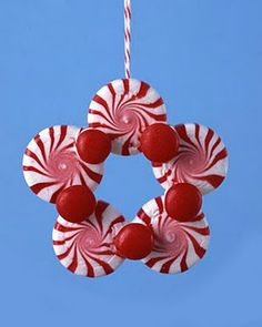 Ornament made from peppermints, red hots, and hot glue!
