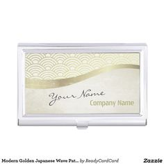 Modern Golden Japanese Wave Pattern Makeup Artist Business Card Holder