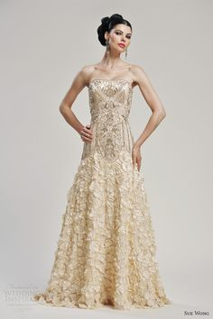 sue wong bridal 2013 strapless intricate gold wedding dress style w3133