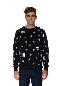 Maison Kitsuné - Fall Winter 2015 - Menswear // Black sweater with Trigram prints