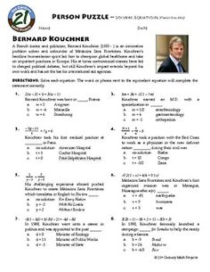 Person Puzzle: Algebra - Solving Equations (Challenging) - Bernard Kouchner