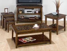 Jofran Baroque Brown Nesting Chairside Table