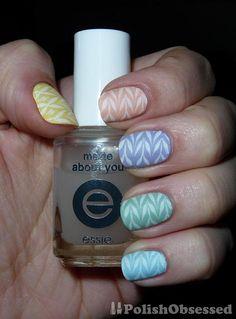 Pastel rainbow base, stamped pattern, mattified