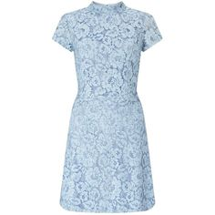 Miss Selfridge Blue Lace Skater Dress ($65) ❤ liked on Polyvore featuring dresses, blue, short sleeve lace dress, miss selfridge, blue dress, lacy dress and short-sleeve lace dresses