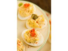 Traditional Southern Deviled Eggs... no pickles. I'll add a little apple cider vinegar, instead.