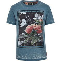 Blue Holloway Road burnout floral t-shirt - print t-shirts - t-shirts / vests - men