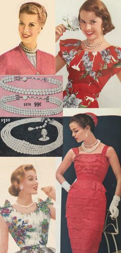 1950s jewelry - ladies in pearl necklaces and earrings