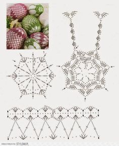 Crochet Lace Egg Chart - should be able to adapt this pattern to fit a ball-shaped christmas ornament :) Crochet Motifs, Crochet Diagram, Crochet Chart, Thread Crochet, Crochet Patterns, Crochet Christmas Ornaments, Holiday Crochet, Crochet Snowflakes, Easter Crochet