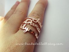 Personalized name ring  Any size  Yellow gold by barbabelle88, $25.00