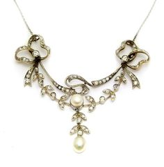 A superb Victorian diamond & Pearl necklace with a brooch fitting. Offered by Emmy Abe at Grays.