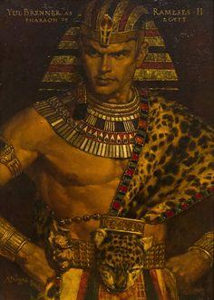 Yul Brynner as Ramses II Pharoah of Egypt, Arnold Friberg More male art… Egyptian Costume, Egyptian Art, Egyptian Jewelry, Ancient Egypt Art, Ancient History, Ancient Aliens, Egypt Concept Art, Prince Of Egypt, Egyptian Mythology