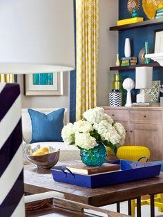 Transitional Living Room by Jennifer Reynolds - Jennifer Reynolds Interiors  Great colorful accessories!