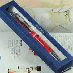 New Swarovski Pen with brand retail box case Swarovski elements Crystal Ballpoint Pen office wedding Gift roller ball pen