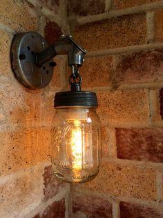 JAR OF LIGHT- Pint Mason Jar Light Rustic Industrial wall sconce lantern with galvanized metal conduit and chain Edison light