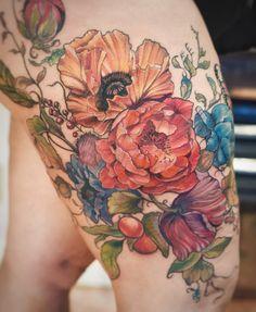 Colorful peony and poppy flower woman tattoo - aubrey mennella Tattoo Henna, Tattoo You, Back Tattoo, Chest Tattoo, Leg Tattoos, Body Art Tattoos, Sleeve Tattoos, Tatoos, Pretty Tattoos