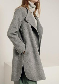 Available Sizes : S/M/L Shoulder Width(cm) : Bust(cm) : Length(cm) : Sleeve Length(cm) : Type : Coats Color : Grey Decoration : Buttons, Pockets Material : Cotton Blend Collar : Band Collar Pattern : Plain Sleeve Length : Long Sleeve Winter Coats Women, Coats For Women, Jackets For Women, Clothes For Women, Look Fashion, Trendy Fashion, Fashion Design, Warm Outfits, Casual Outfits