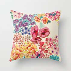 Flowers Throw Pillow by Moniquilla - $20.00