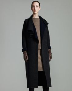 Draped-Collar Coat by Lanvin at Bergdorf Goodman.