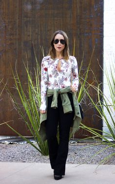 Dark Lips & Floral Bodysuit | Clothes & Quotes. White floral bodysuit+black pants+black pumps+khaki utility jacket+black shoulder bag+aviator sunglasses. Fall Outfit 2016