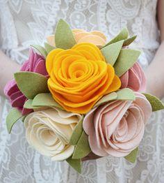 Cottage Roses Felt Bouquet | Brides and Bridal Party Attire ...