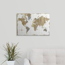 'Gilded Map' Graphic Art on Wrapped Canvas