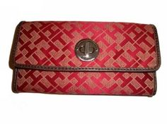 Women's Tommy Hilfiger Continental Checkbook Wallet (Burgandy Alpaca Trimmed With Brown) (NEW) Tommy Hilfiger. $44.99