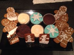 Winter themed cupcakes and gingerbread biscuits