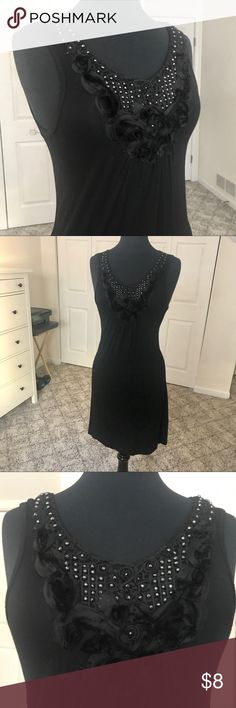 Lapis Black Beaded Dress -In good condition -Above the knee length  Size Small Lapis Dresses Midi