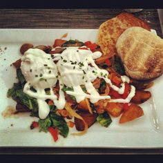 Veggies Hash from Gracies in Portland, OR via @virtuallars.  CAN'T WAIT!! well once they take all that creamy stuff off of it!