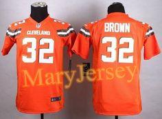 """$23.88 per one, welcome email """"MaryJersey"""" at maryjerseyelway@gmail.com for Nike Browns 32 Jim Brown Orange Alternate Youth Stitched NFL New Elite Jersey"""