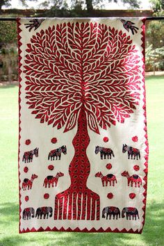 Red Tree of Life Indian Ethnic Hippie Wall Tapestry