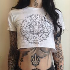 Mandala crop top in white designed by grace neutral on American apparel top