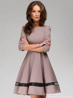 Fashion Fifth Sleeve Stitching Swing Career Pleated Dress