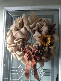 My burlap fall wreath. Fall Wreaths, Fall Decorating, Burlap Wreath, Swag, Burlap, Autumn Wreaths, Fall Mantels, Swag Style, Primitive Fall