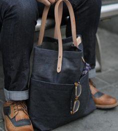 Love this. :: Waxed Denim Pocket Tote Bag