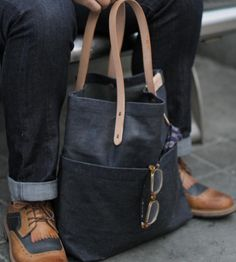 Love this. :: Waxed Denim Pocket Tote Bag