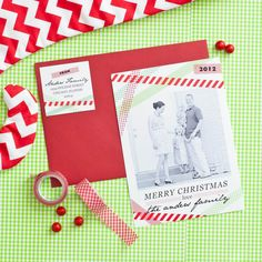 Washi Tape Inspired Printable Holiday or Christmas Photo Card from #AndersRuff