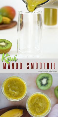 Bursting with vitamin C this kiwi smoothie with mango banana and lime is delicious filling and super creamy The perfect healthy start to your day smoothie kiwi mango Kiwi Smoothie, Smoothie Detox, Smoothie King, Cleanse Detox, Carrot Smoothie, Bath Detox, Power Smoothie, Detox Soup, Smoothie Drinks