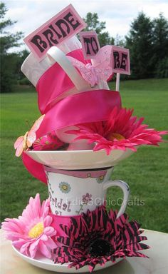 BRIDE TO BE - Customized Stacked TeaCup Centerpiece Bridal Shower - Choose Your Colors, Ribbon, & Other Details - Made to Order via Etsy