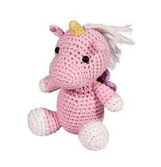 Zubels hand crochet clip-on unicorn measures 4-inches in size Bumpy texture is great for developing babies sense of touch Features a small crochet loop on the back that is perfect for clipping onto st