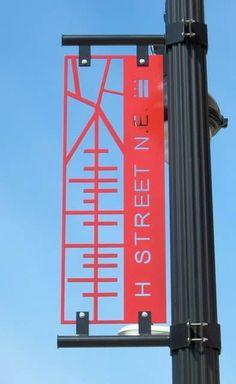 H Street SIGNAGE - architectural, interior, landscape and industrial design all make up environmental graphic design Environmental Graphic Design, Environmental Graphics, Logo Typo, Typography, Street Banners, Wayfinding Signs, Sign System, Exterior Signage, Signage Design